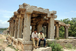"""Aswin and Me. At Hampi. One of our last shots with the tripod. Because apparently shooting with a """"tripod"""" needs a permit. Stupid rules."""